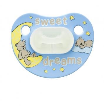 Пустышка Bibi силиконовая, 0-6 мес, ночная, Sweet Dreams Blue купить в интернет-магазине Авимед