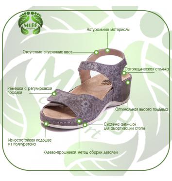 Яркие женские ортопедические босоножки Mubb купить в интернет-магазине Авимед
