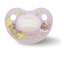 Пустышка Bibi силиконовая, 12-36 міс (L), нічна, Sweet Dreams pink