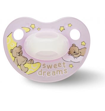 Пустышка Bibi силиконовая, 12-36 міс (L), нічна, Sweet Dreams pink купить в интернет-магазине Авимед