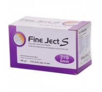 Иглы для инсулиновых шприц-ручек Fine Ject S 31G(0,25mm)6mm, 100 шт