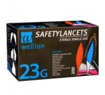 Безопасные одноразовые ланцеты Wellion 23G 200 шт