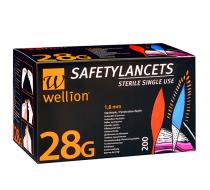Безопасные одноразовые ланцеты Wellion 28G 200 шт